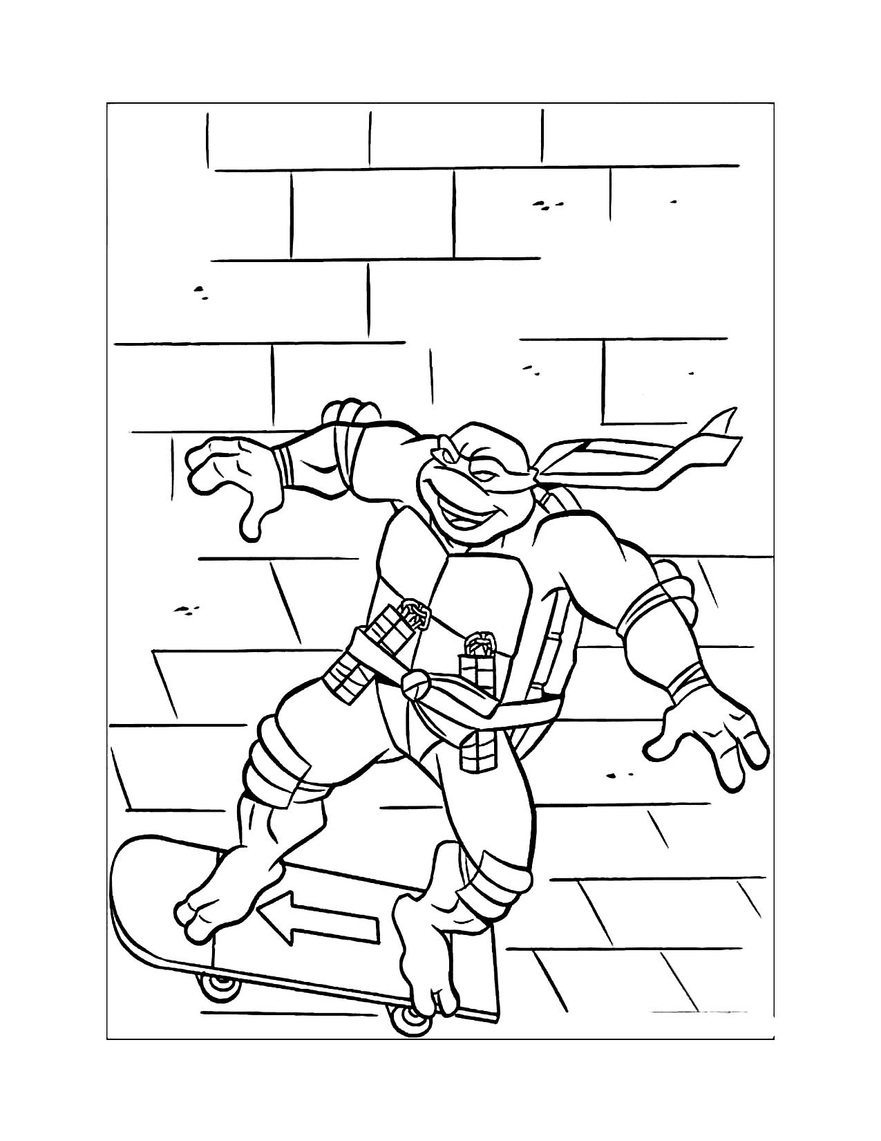 Ninja Turtle Skateboarding Coloring Page