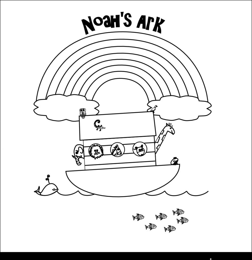 Noahs Ark under Rainbow Coloring Page