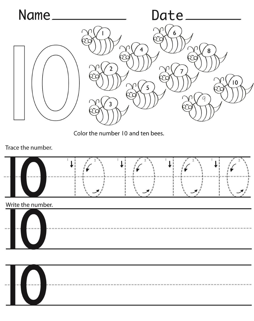 Number 10 Kindergarten Worksheet