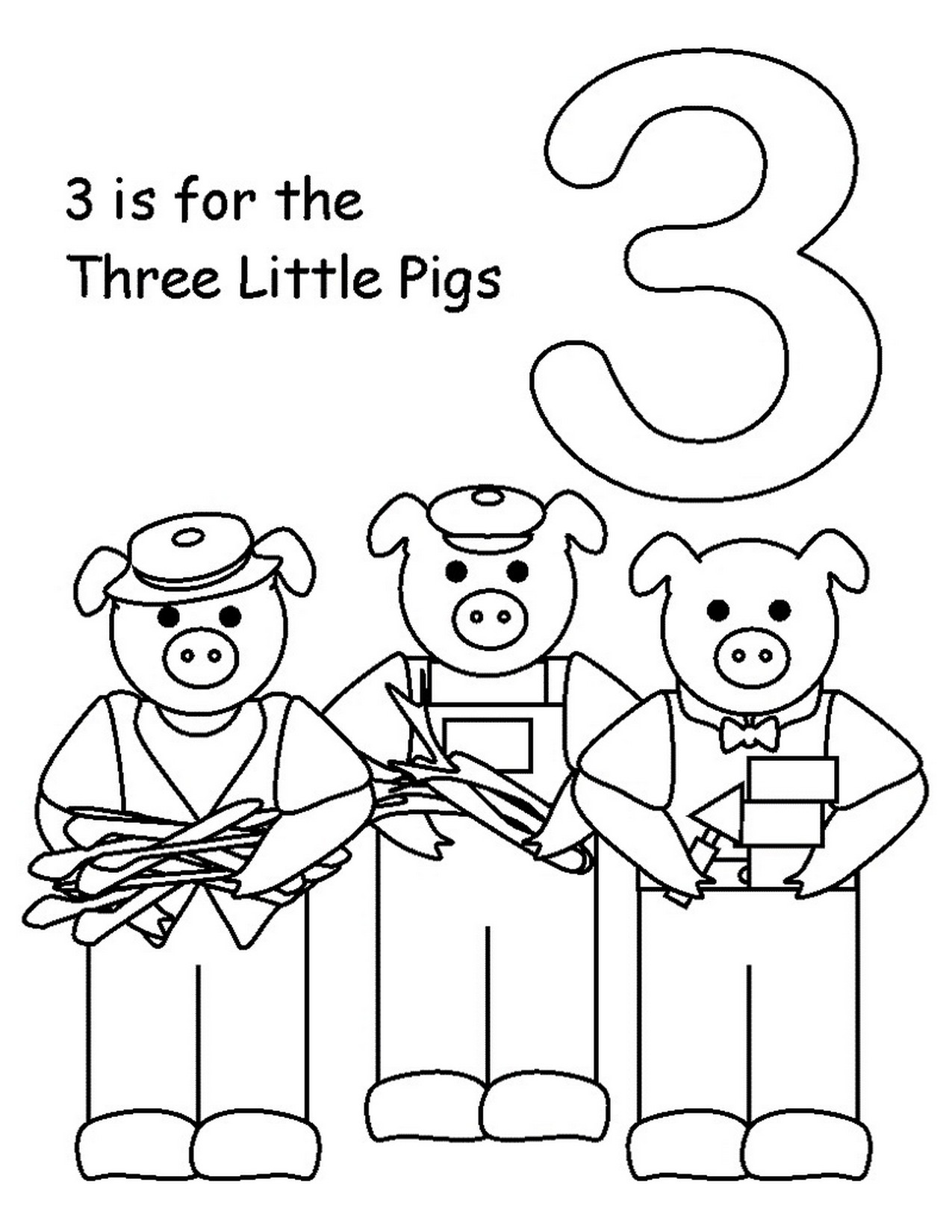 Number 3 Kindergarten Coloring Page