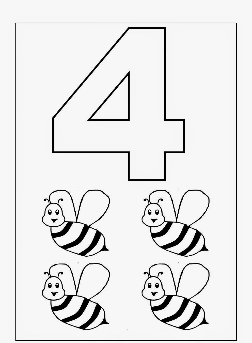 Number 4 Kindergarten Coloring Page