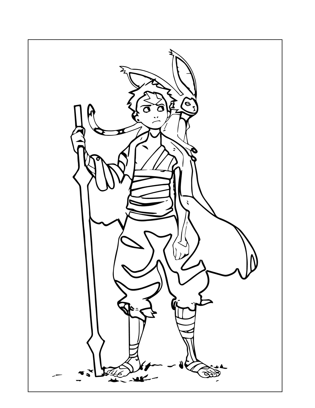 Older Aang Avatar Coloring Page
