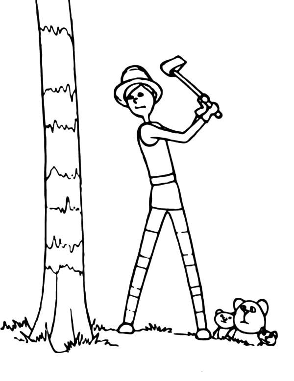 Onceler Chopping Down Truffula Tree Lorax Coloring Page