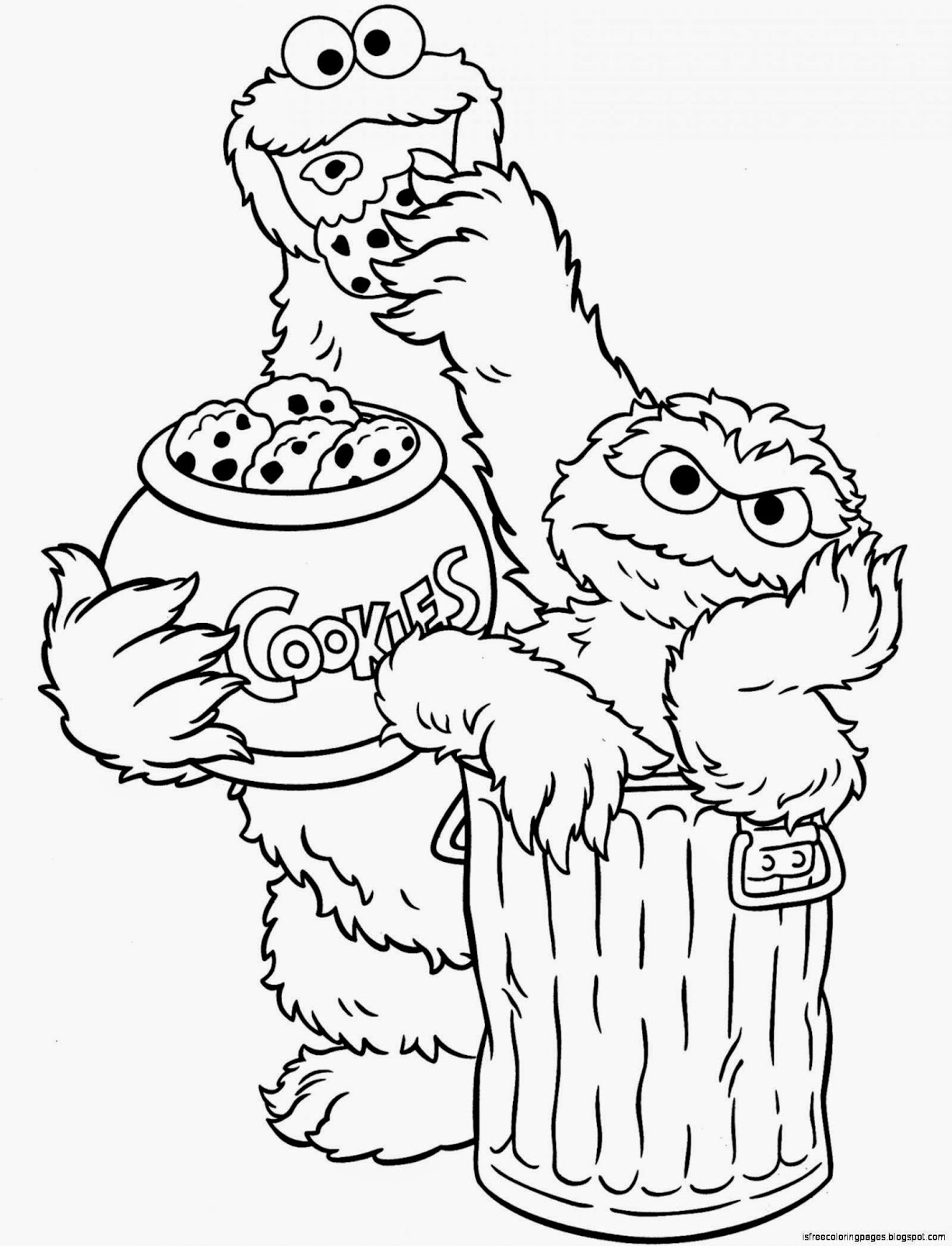 Oscar and Cookie Monster Sesame Street Coloring Pages