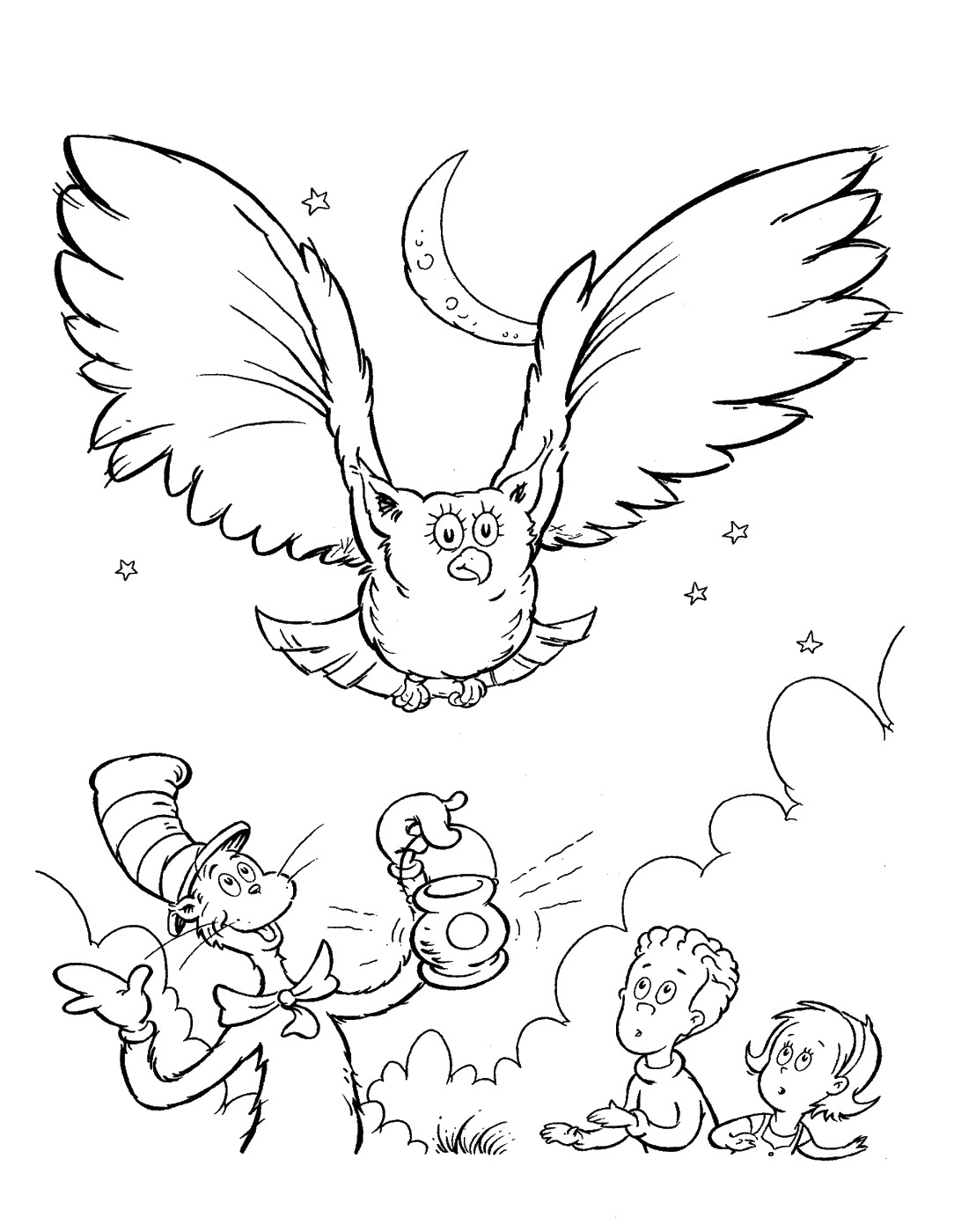 Owl Cat in the Hat Coloring Pages