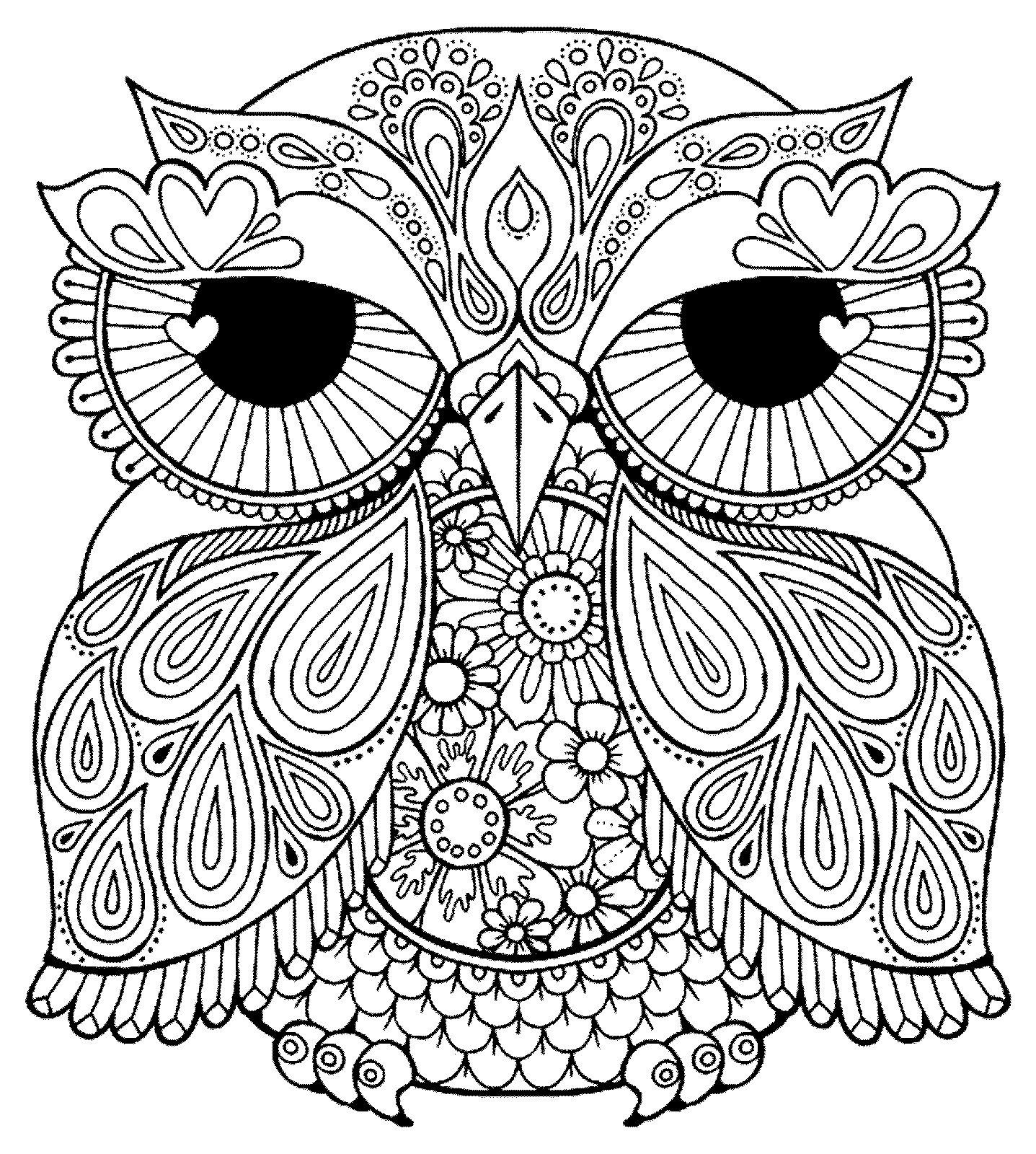 Owl Coloring Pages for Teens