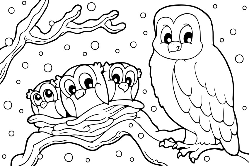 Owl Family in Winter Coloring Page
