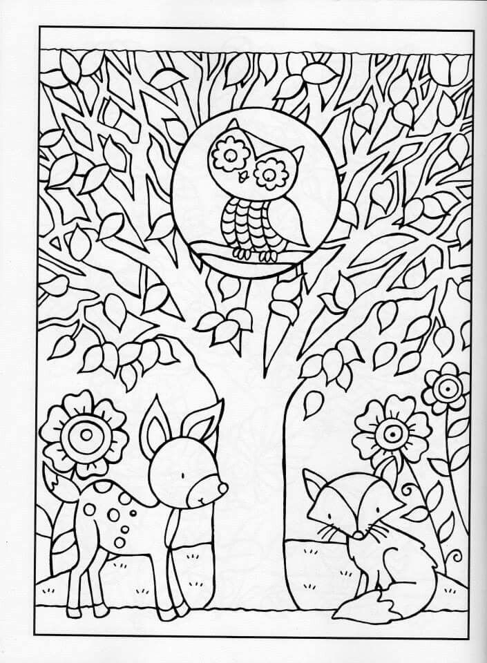 Owl in Tree Fall Coloring