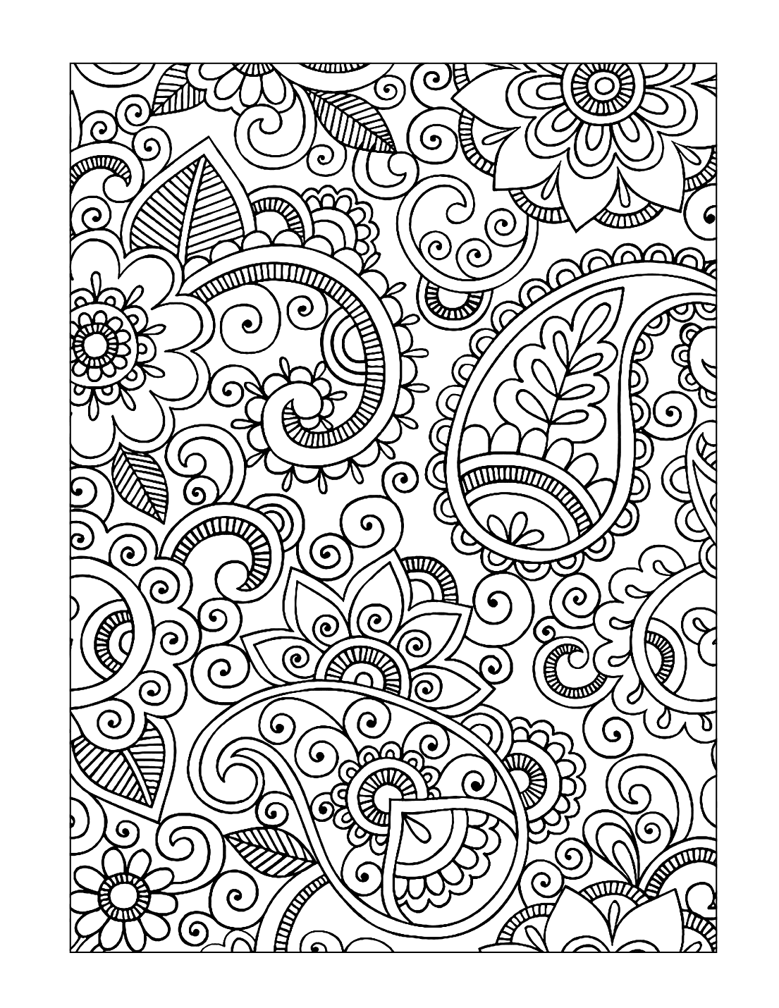 Paisley Drawing Coloring Page