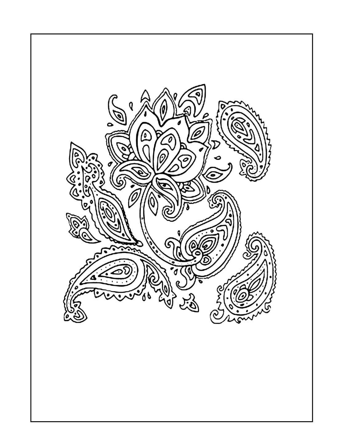 Paisley Flower Coloring Page