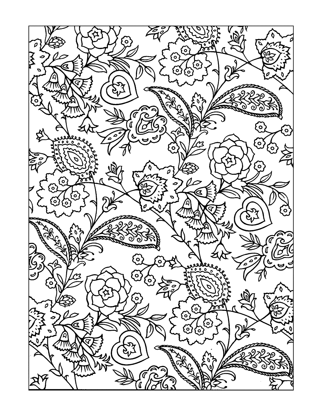 Paisley Flowers Coloring Page