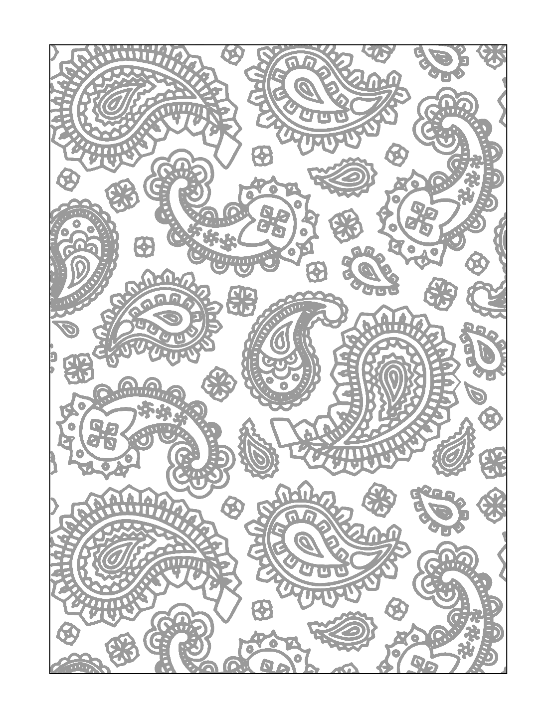 Paisley Tracing Printable Coloring Page