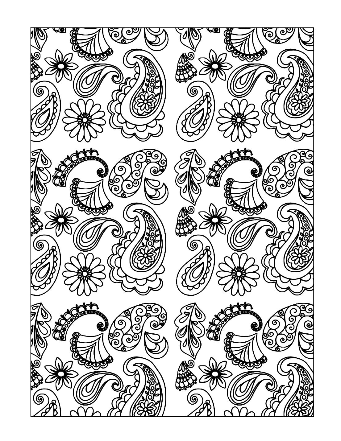 Paisleys Patterns Coloring Pages