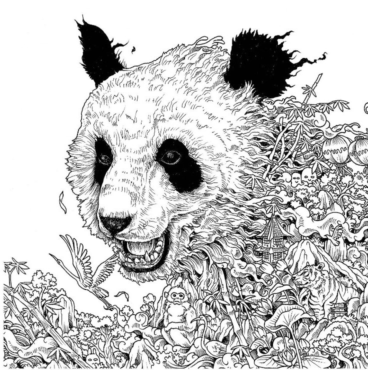 Coloring Pages Mother Red Panda With Her Cute Baby High-Res Vector ... | 740x736