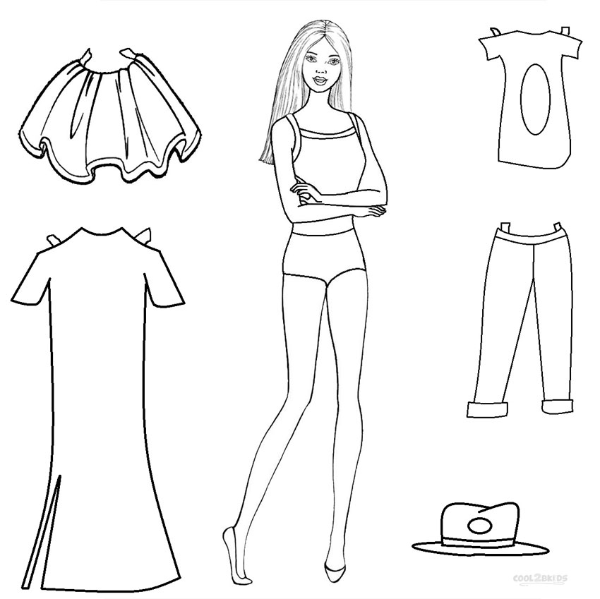 Paper Barbie Doll Coloring Pages