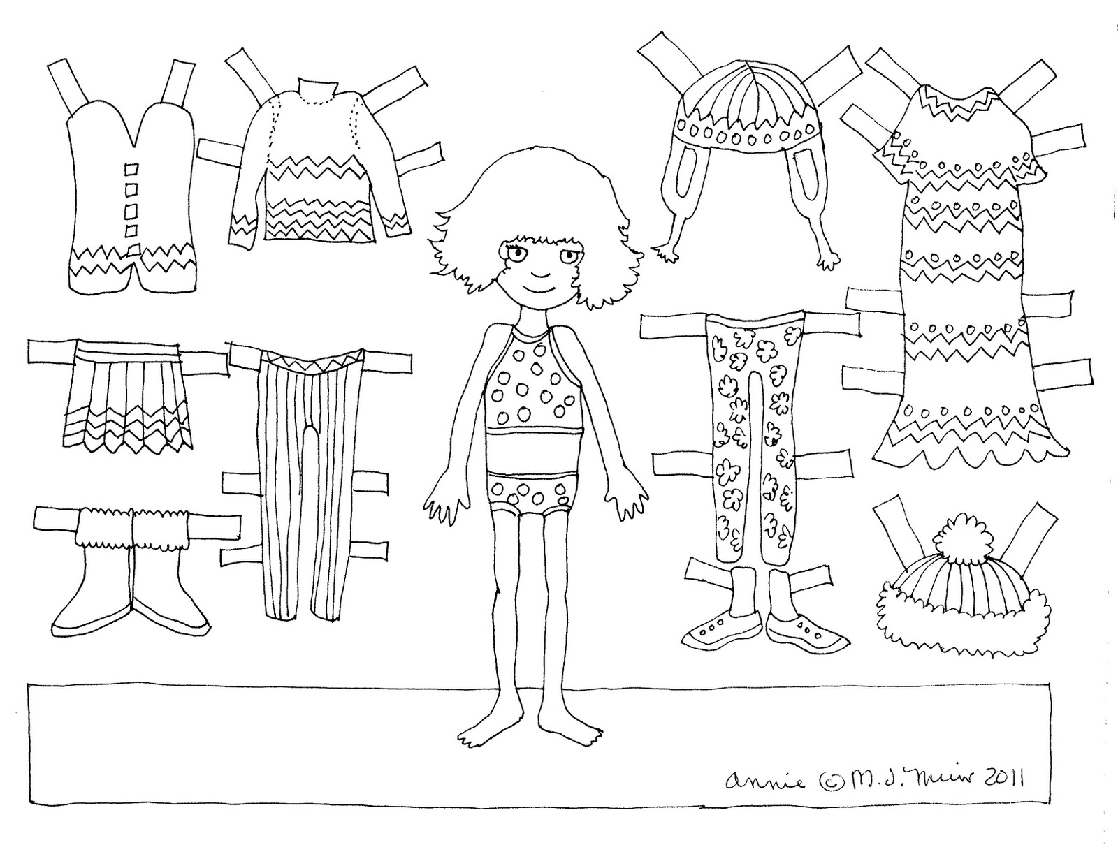 Paper Doll Cute Coloring Pages