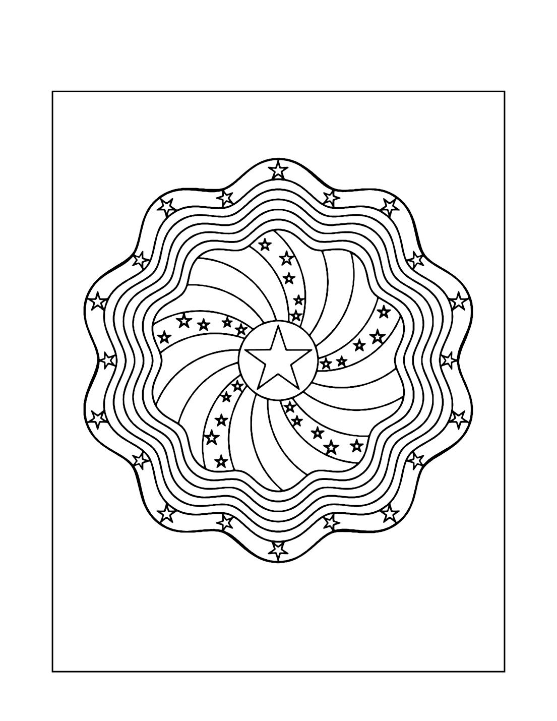 Patriotic Star Mandala Coloring Page