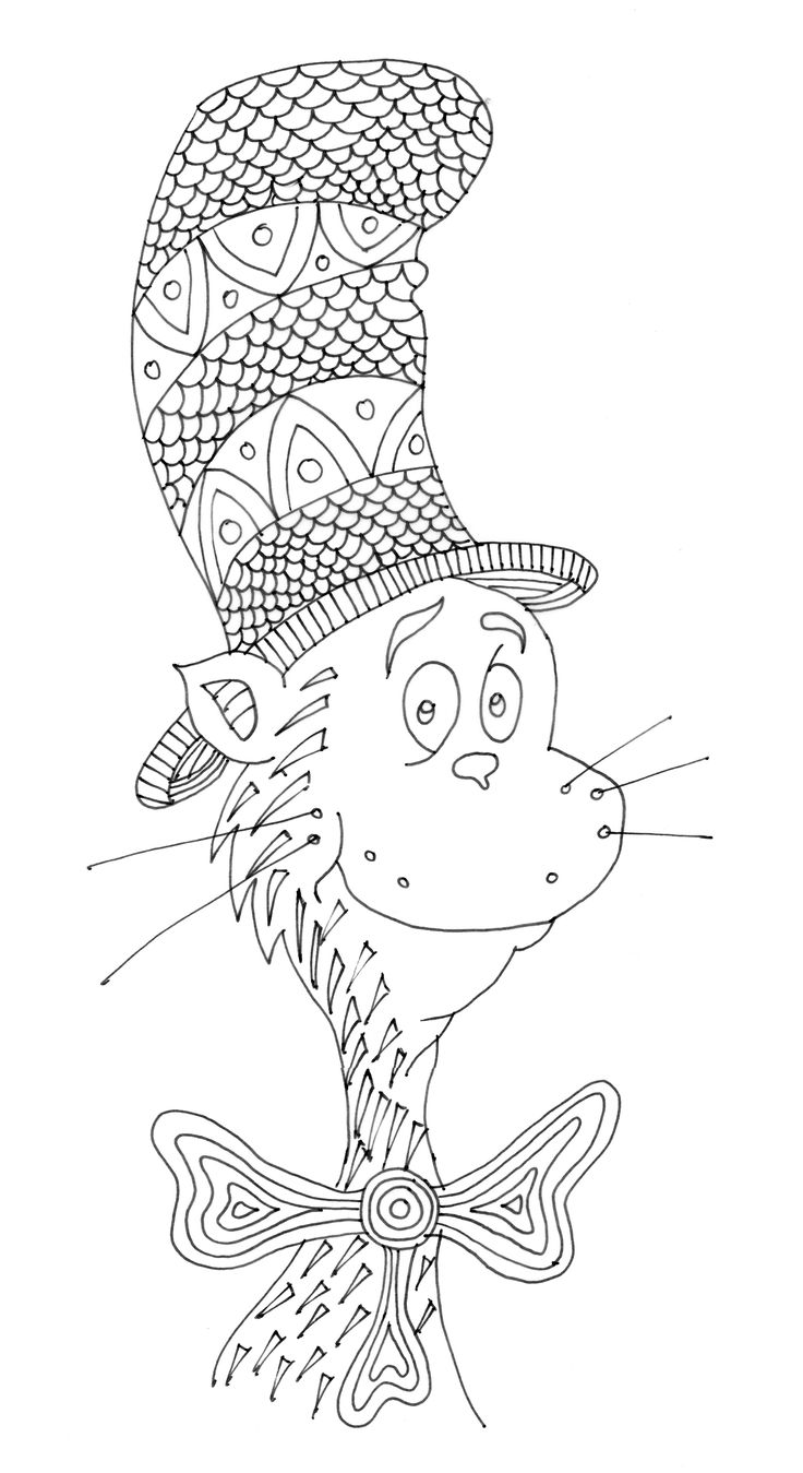 Pattern Cat in the Hat Coloring Pages