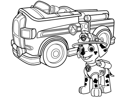Paw Patrol Fire Truck Coloring Page