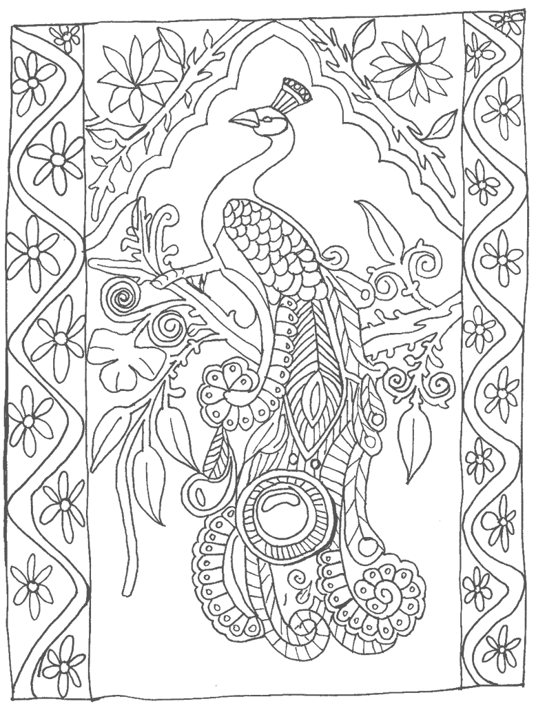 Peacock Art to Color