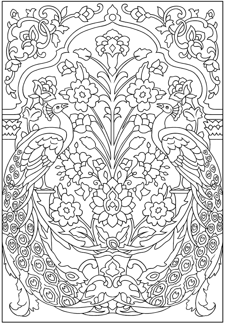 Peacock Design Coloring Page