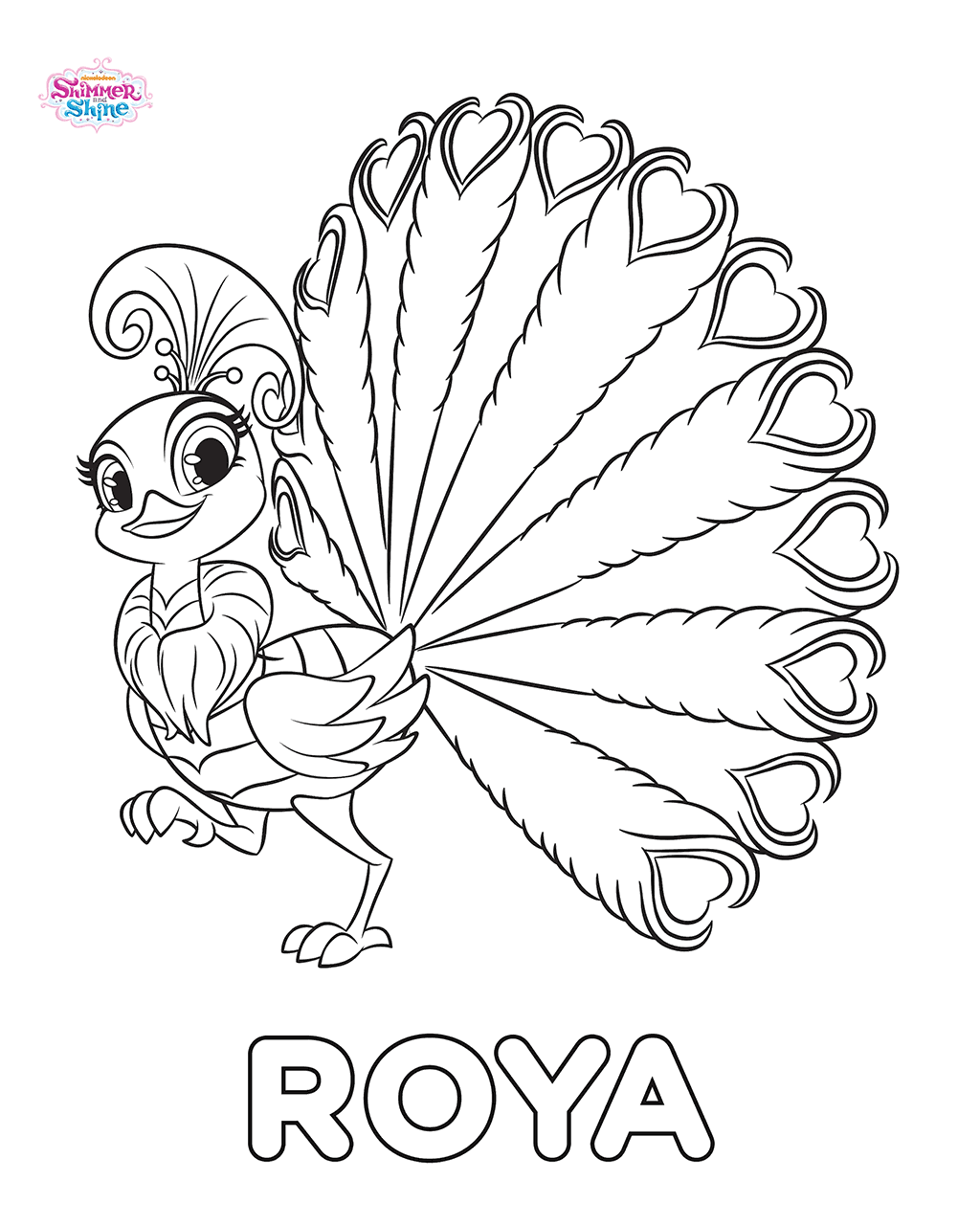 Peacock Roya Shimmer and Shine Coloring Pages