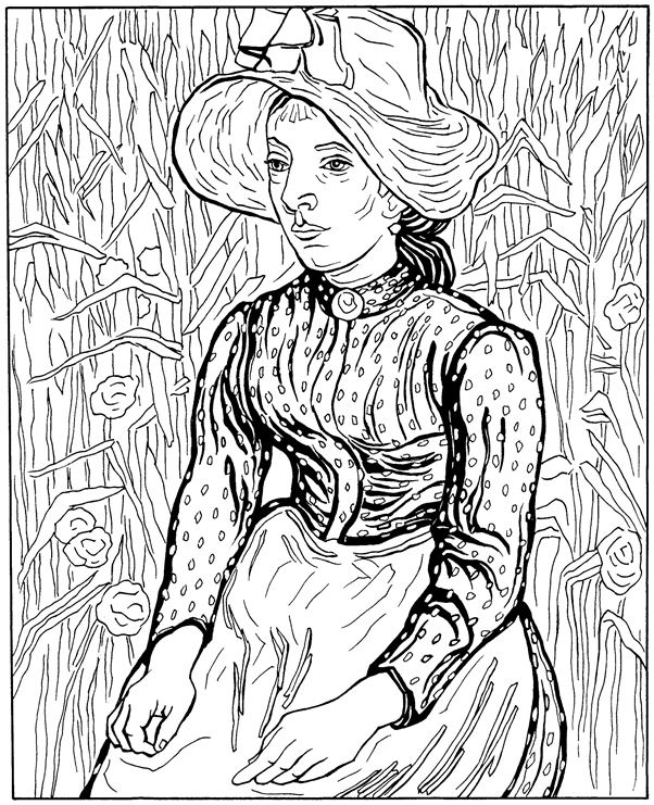 Chinese peasant coloring page - Coloringcrew.com | 741x602