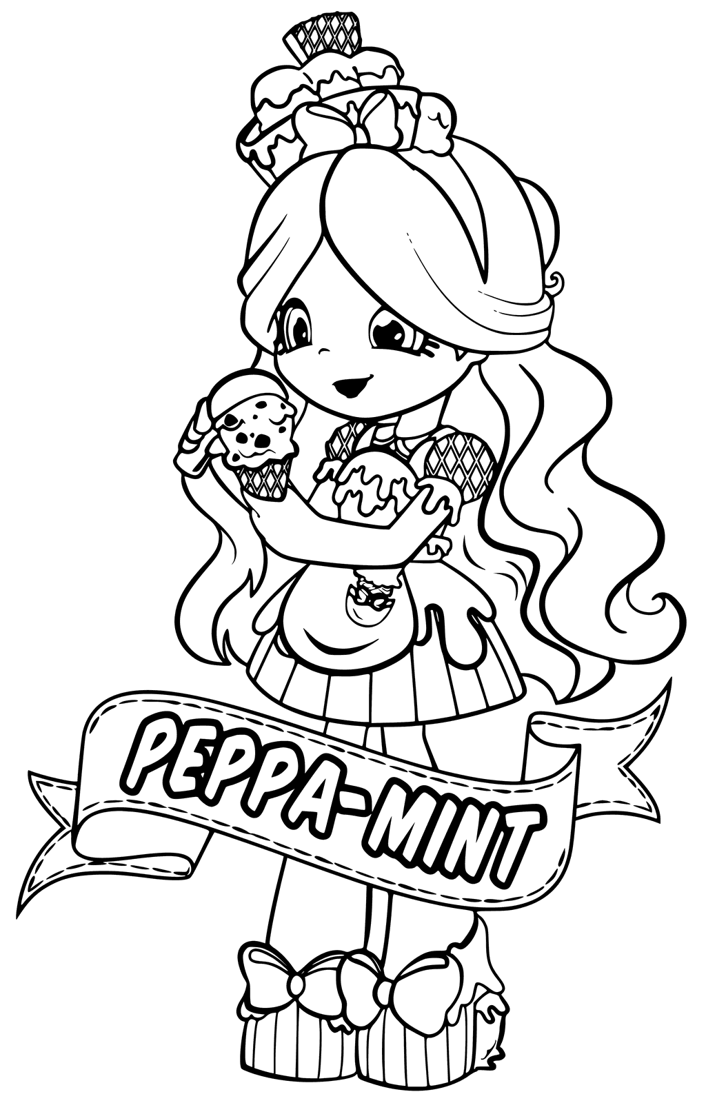 Peppa-Mint Shoppies Coloring Pages
