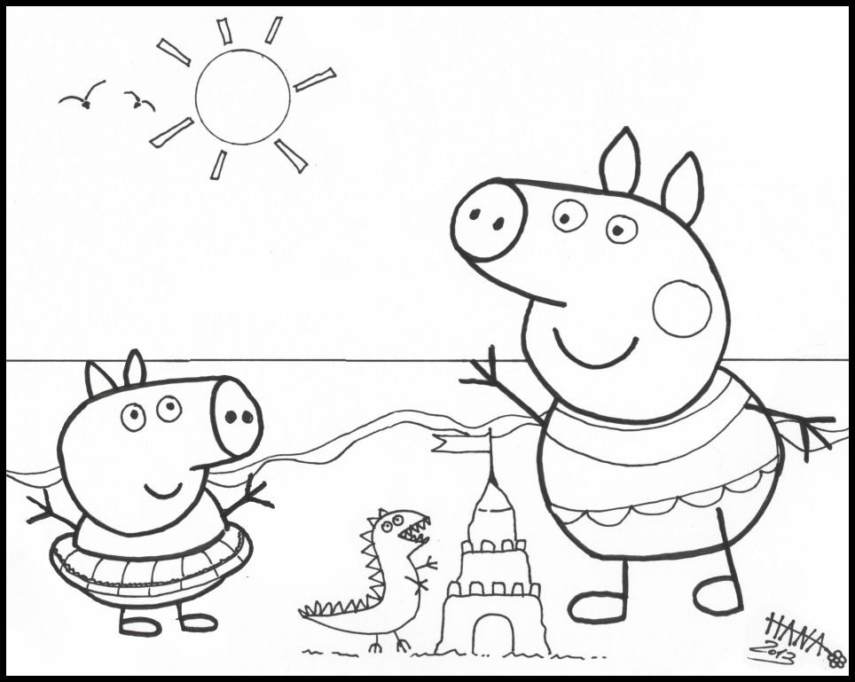 Peppa Pig Beachtime Coloring Pages