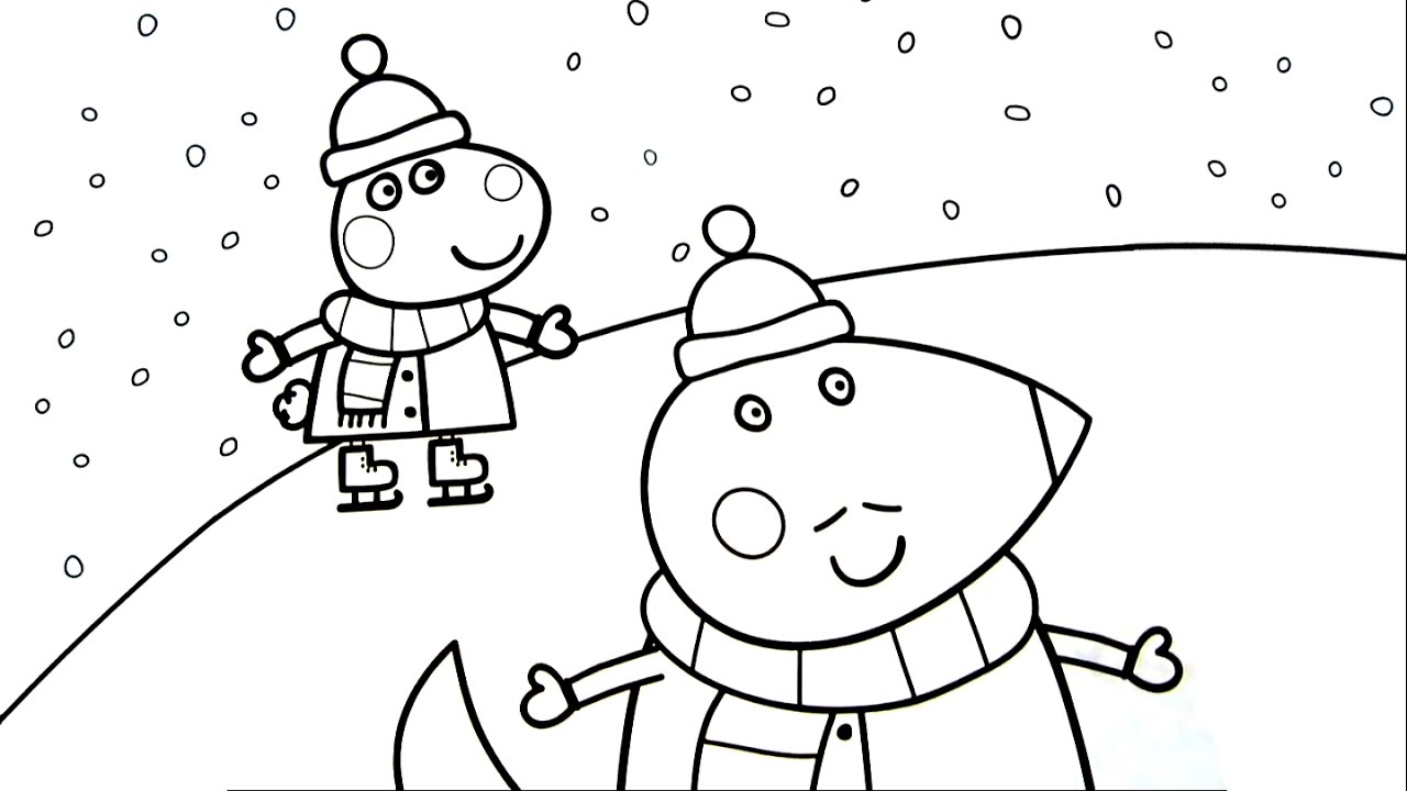 Peppa Pig Christmas Ice Skating Coloring Pages