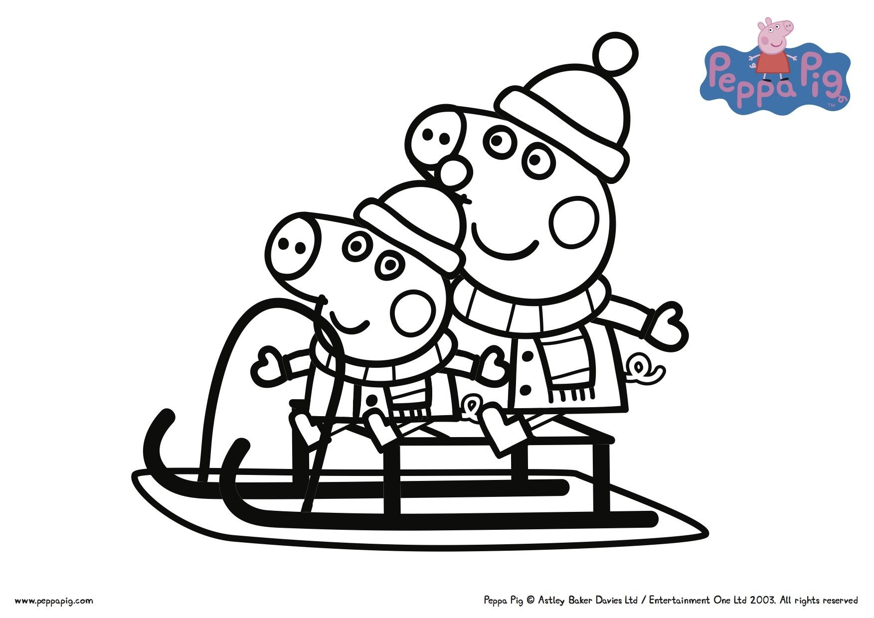 Peppa Pig Christmas Sledding Coloring Pages