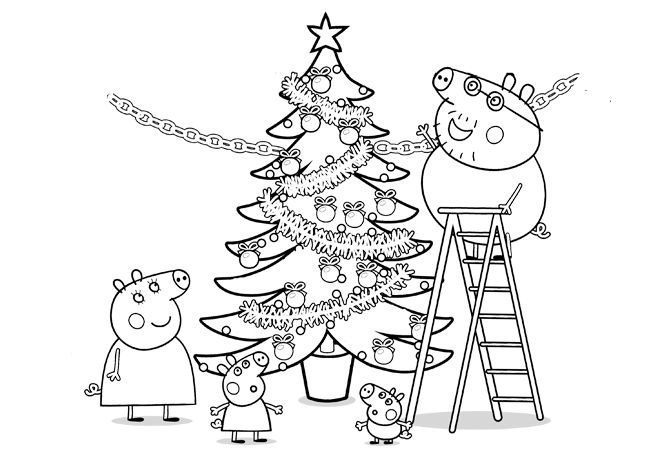 Peppa Pig Christmas Tree Coloring Pages