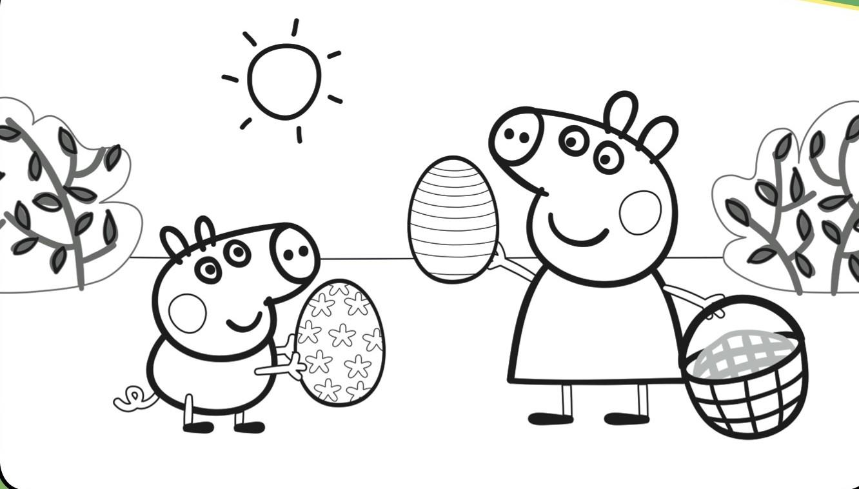 Peppa Pig Easter Egg Hunt Coloring Page