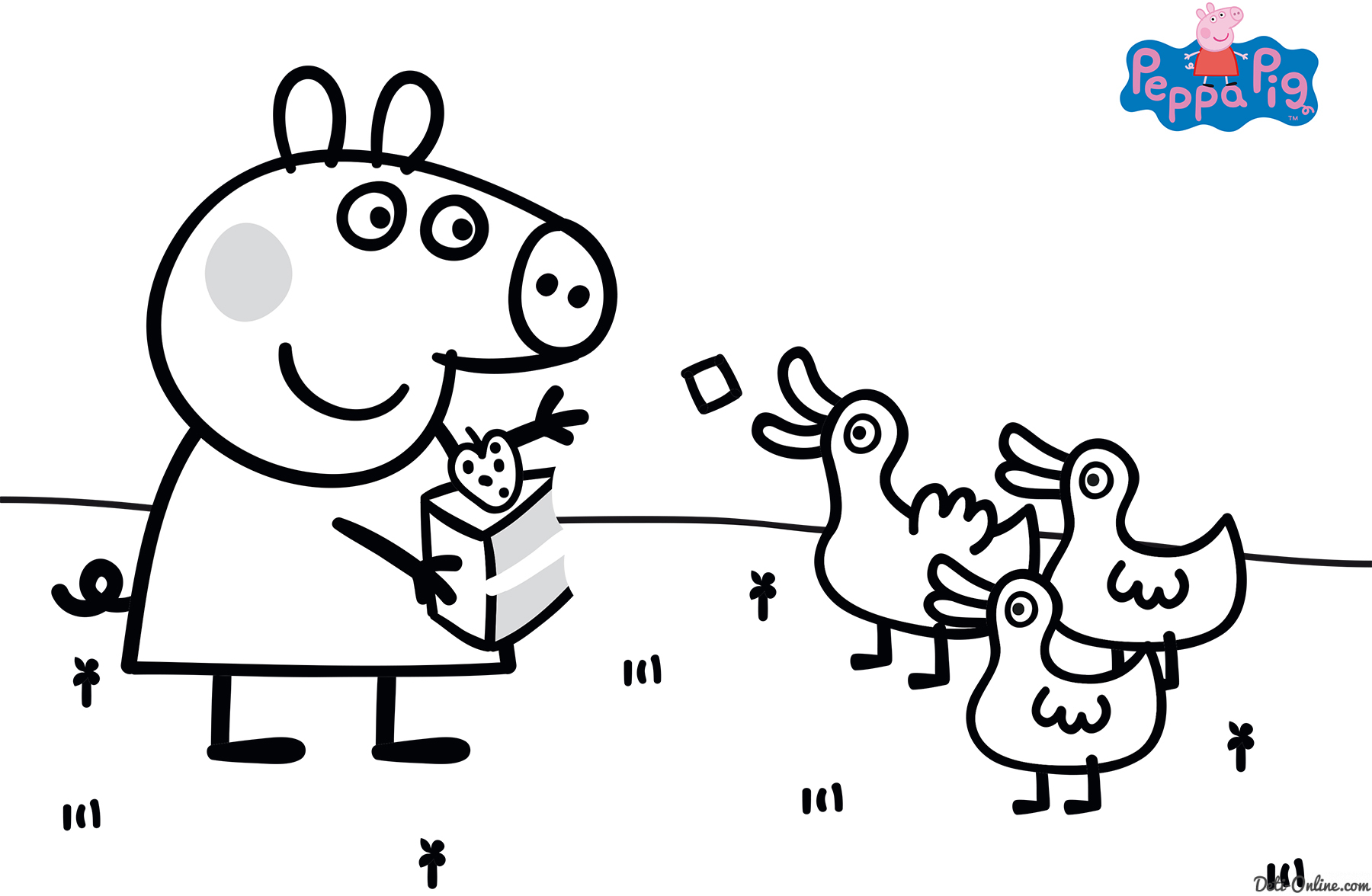 Peppa Pig Feeding Ducks Coloring Page