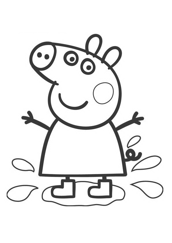 Peppa Pig Splashes Coloring Page