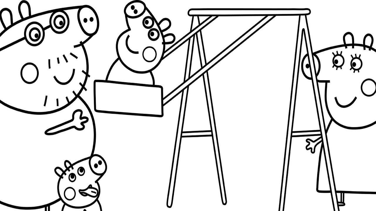 Peppa Pig Swinging Coloring Printable