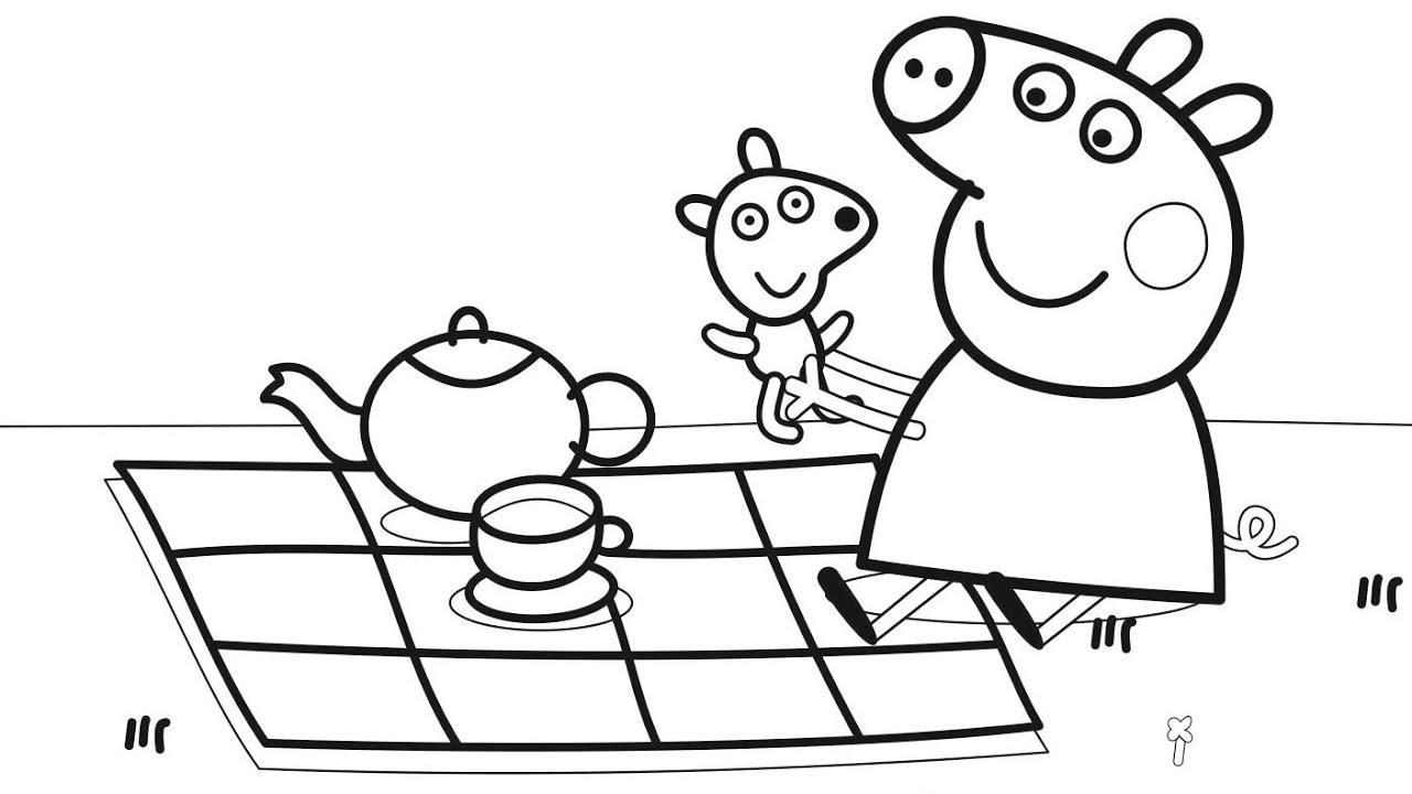 Peppa Pig Tea Picnic Coloring Image to Print
