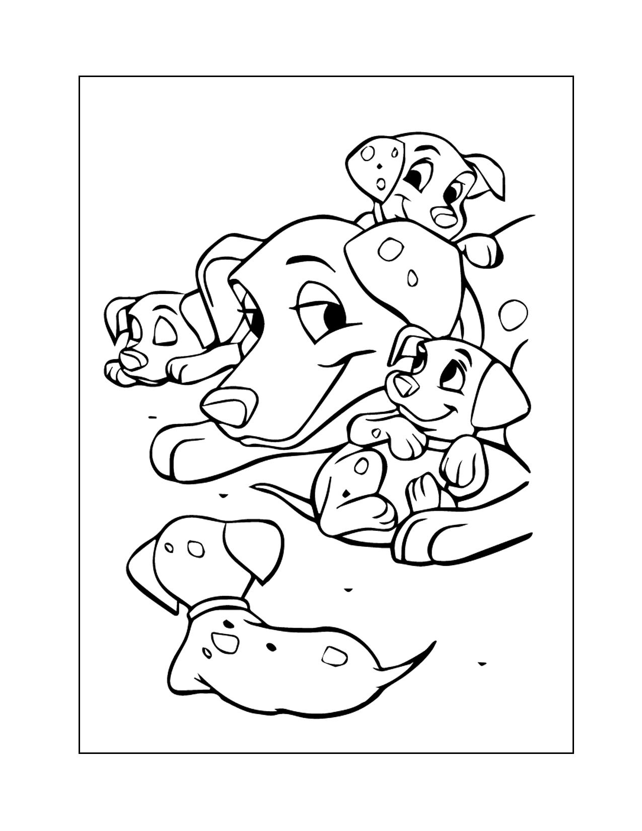 Perdita And Dalmatian Puppies Coloring Page
