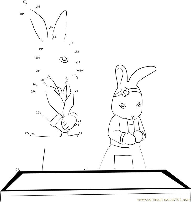 Peter Rabbit Connect the Dots Coloring Page
