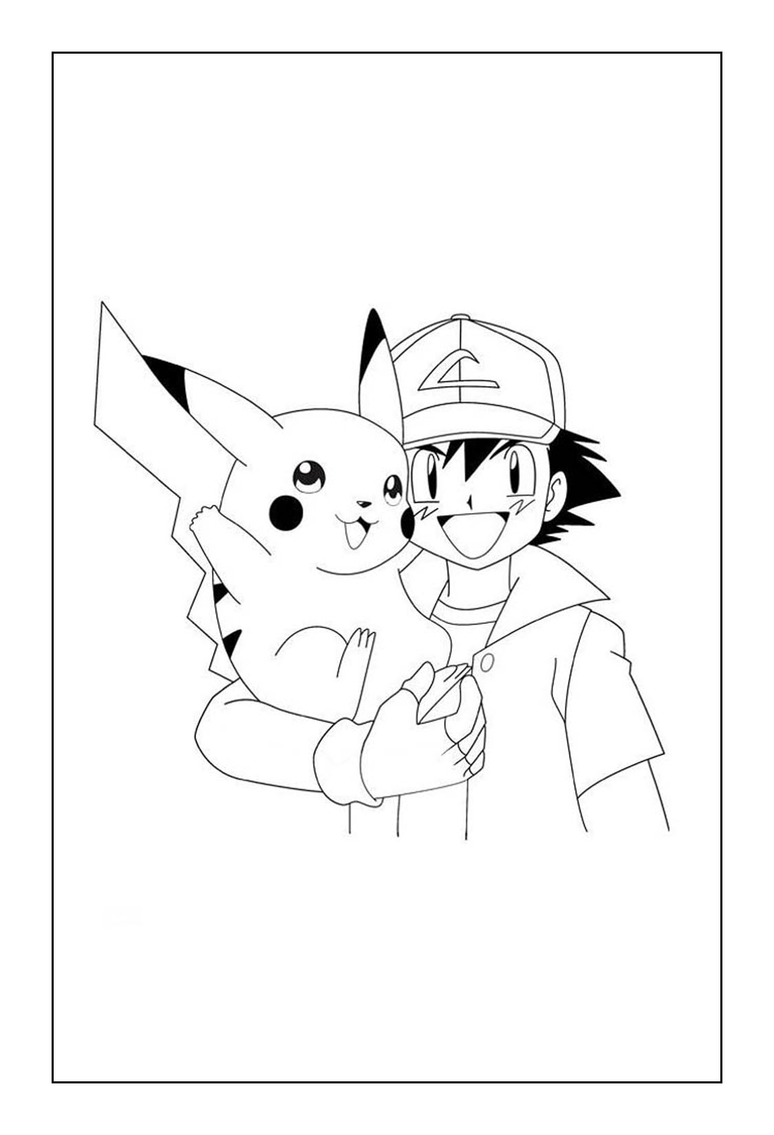 Pikachu Coloring Pages - Pikachu and Ash