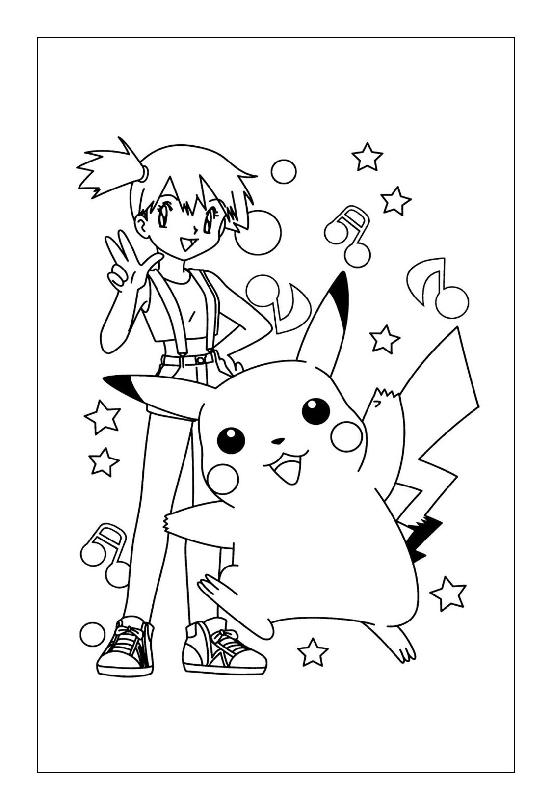 Pikachu Coloring Pages - Pikachu and Misty