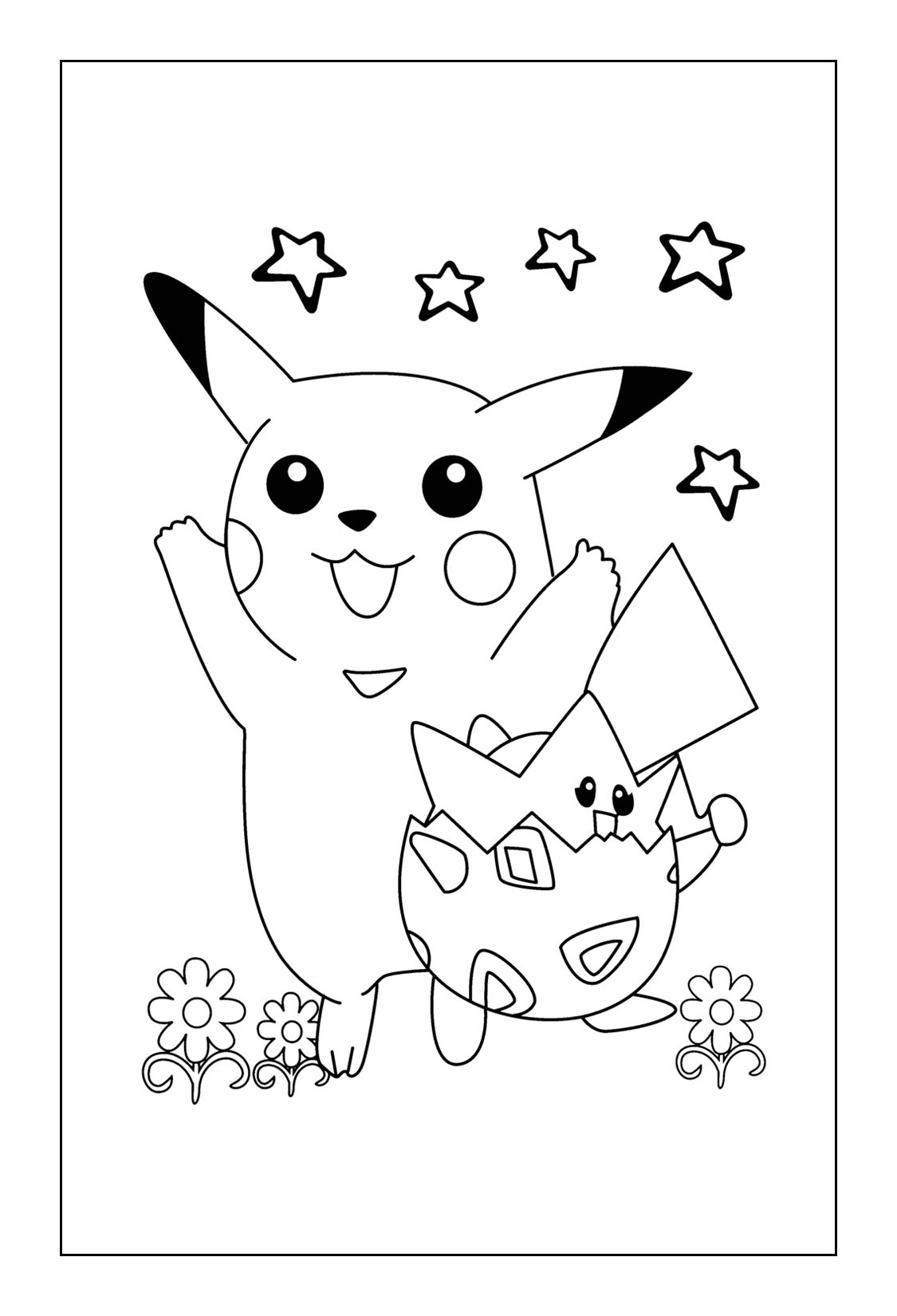 Pikachu Coloring Pages - Pikachu and Togepi