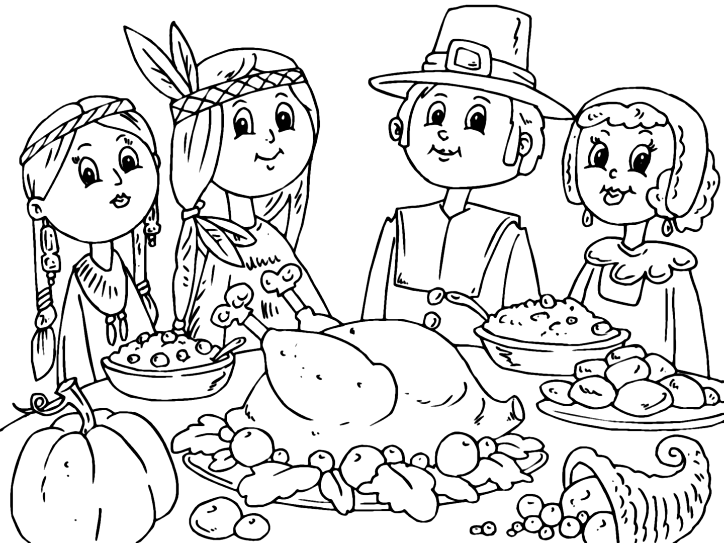Pilgrim And Indian Thanksgiving Dinner Coloring Page Coloring Rocks
