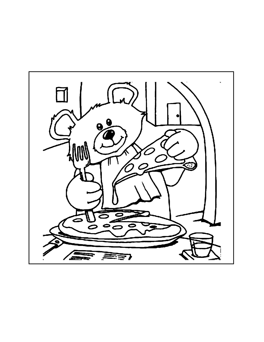 Pizza Bear Coloring Page