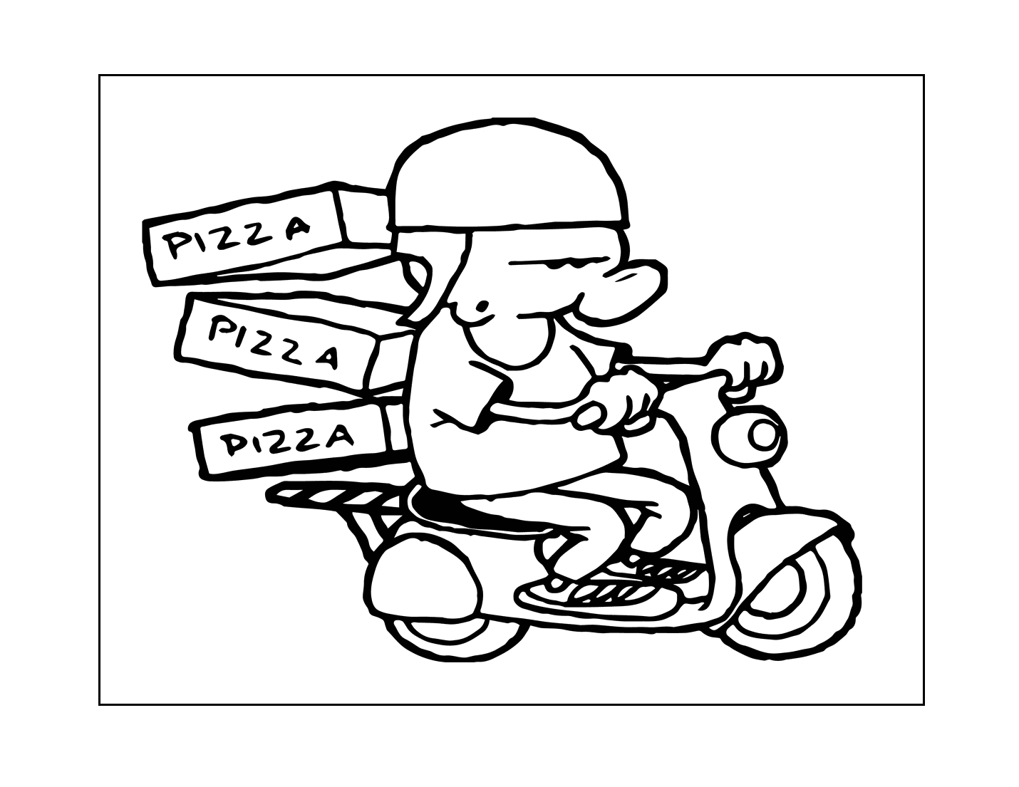 Pizza Delivery Coloring Page