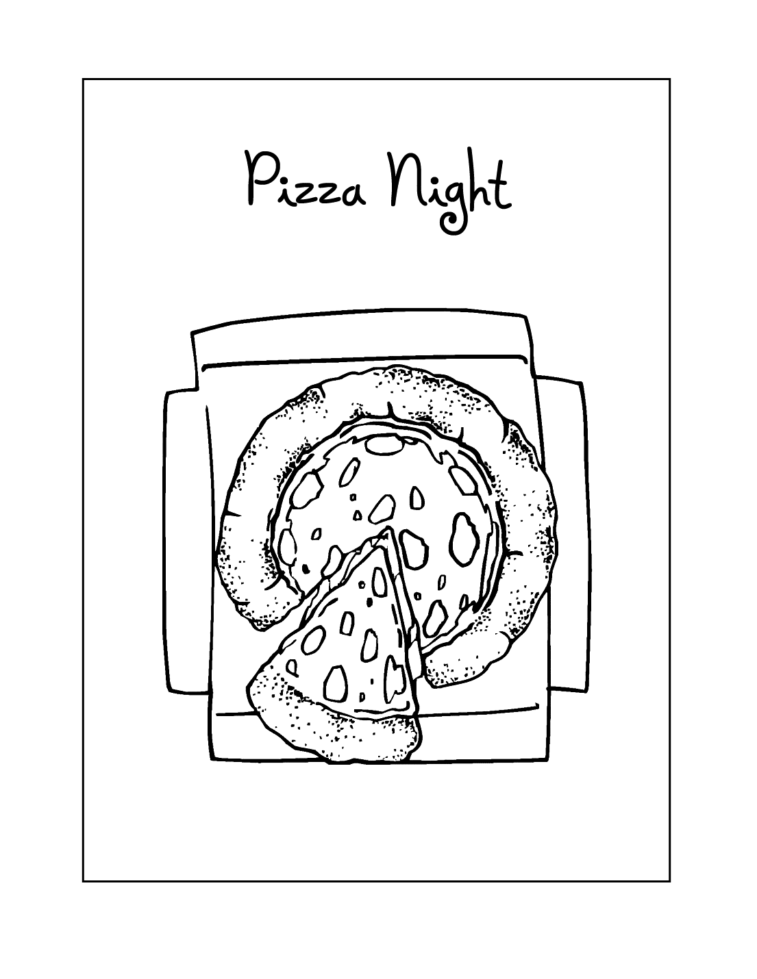 Pizza Night Coloring Pages