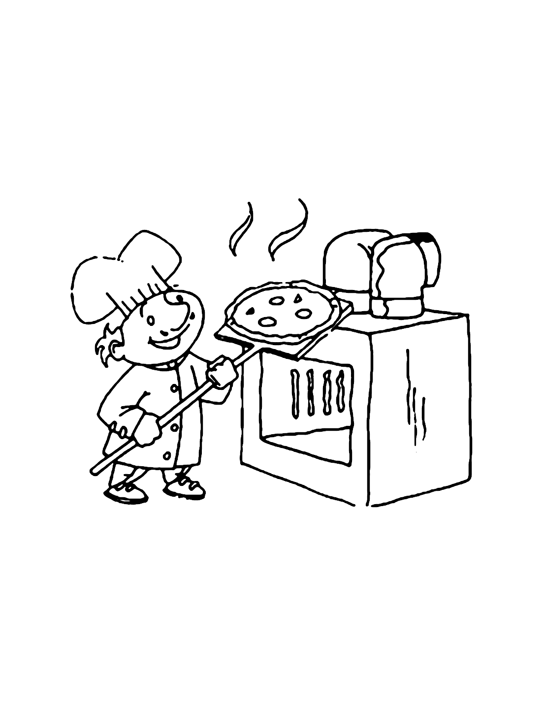 Pizza Oven Coloring Page