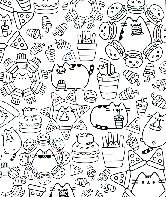 Pizza and Burgers Kawaii Coloring Pages