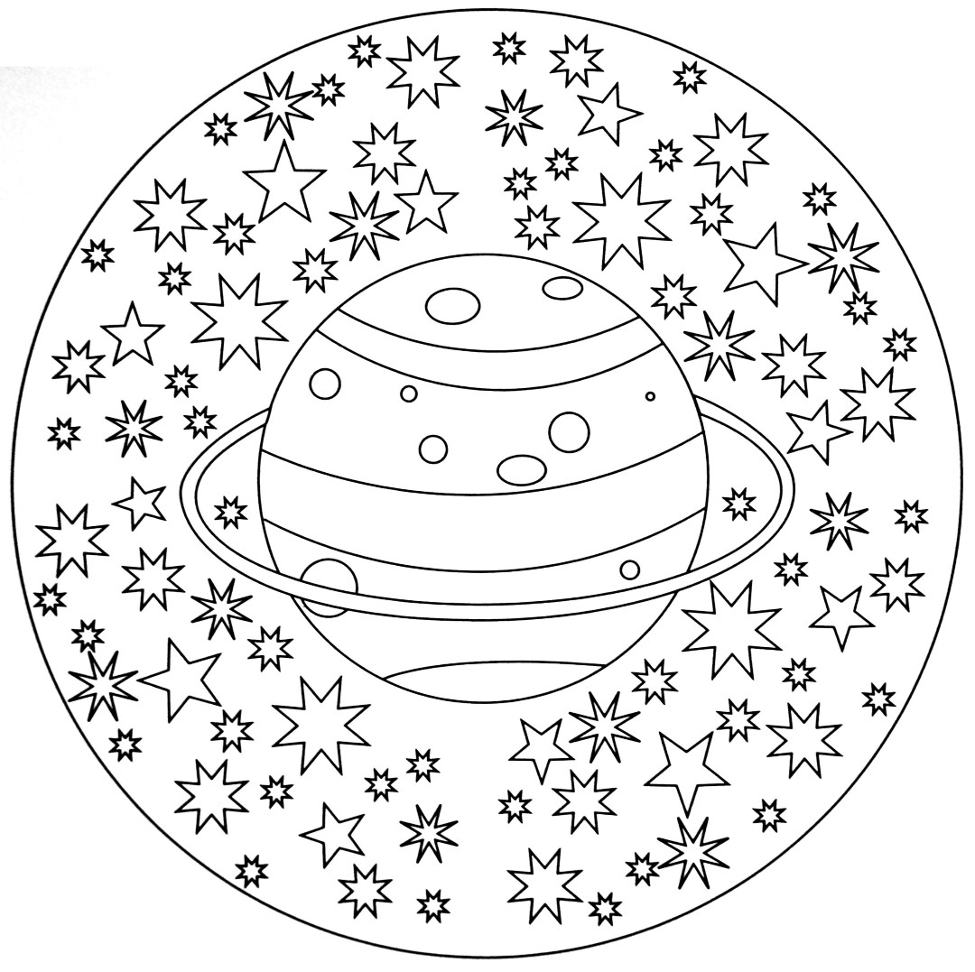 Planet and Stars Mandala to Color