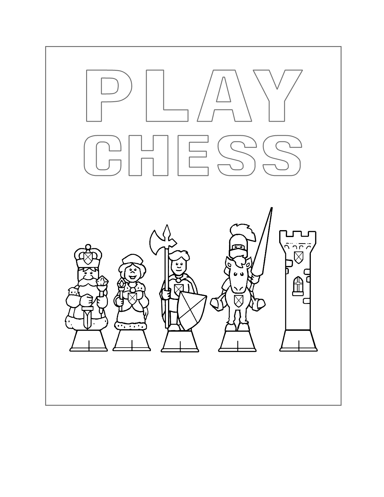 Play Chess Coloring Page